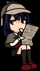 座って新聞を読むフリをする探偵の女の子「みーたむ」