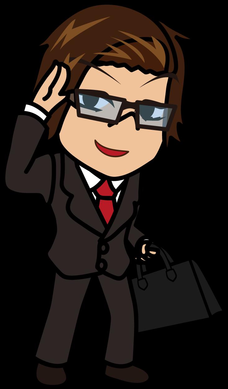 右手を挙げて軽い挨拶をするビジネスマン「うりぼぅ」