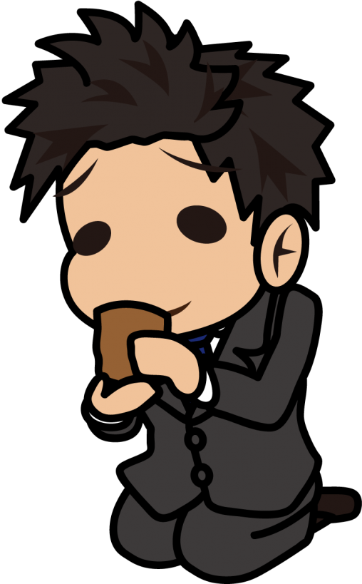 ゆるい顔でお茶をすするビジネスマン「とびぃ」