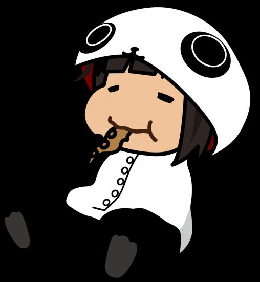スルメイカをかじるパンダの着ぐるみの女の子「座敷あらし」