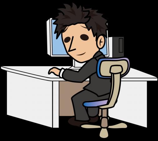 パソコンの前に座って困り顔で振り返るビジネスマン「とびぃ」