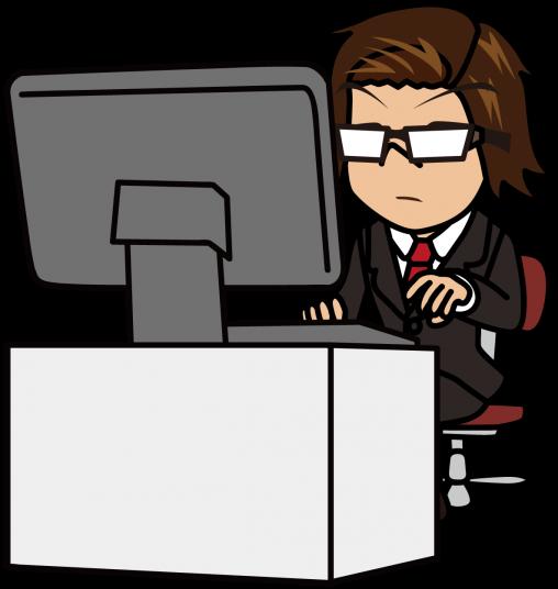 花を生ける様に静かにパソコン作業をするビジネスマン「うりぼぅ」