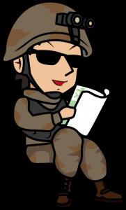 座って求人情報誌を見る戦闘服の兵士「とびぃ」