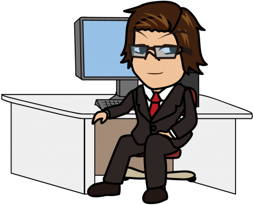 PCの前に座って得意気に振り返るビジネスマン「うりぼぅ」