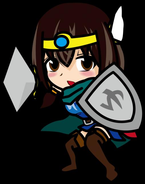 剣と盾を構える女勇者「あーたむ」