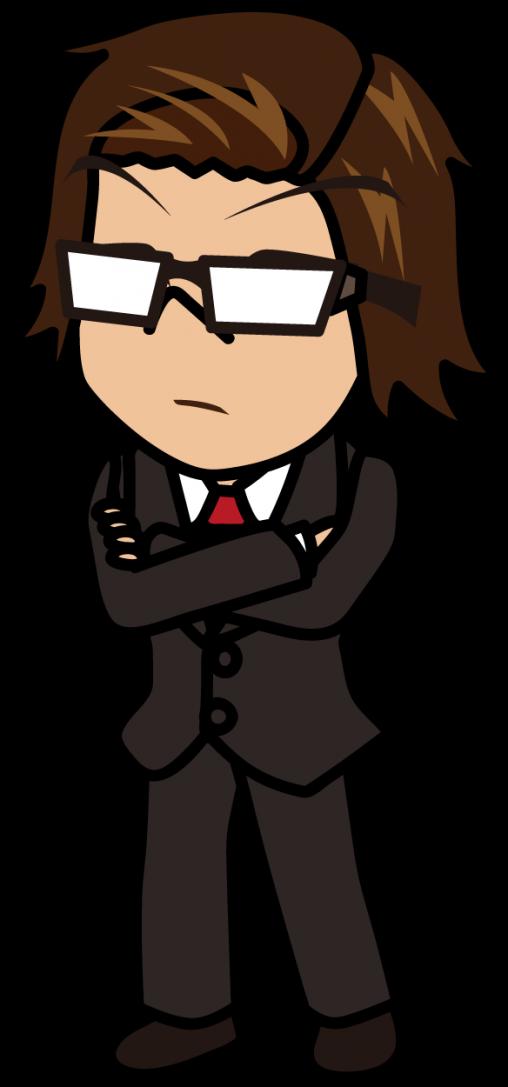 厳しい顔で腕組みするビジネスマン「うりぼぅ」