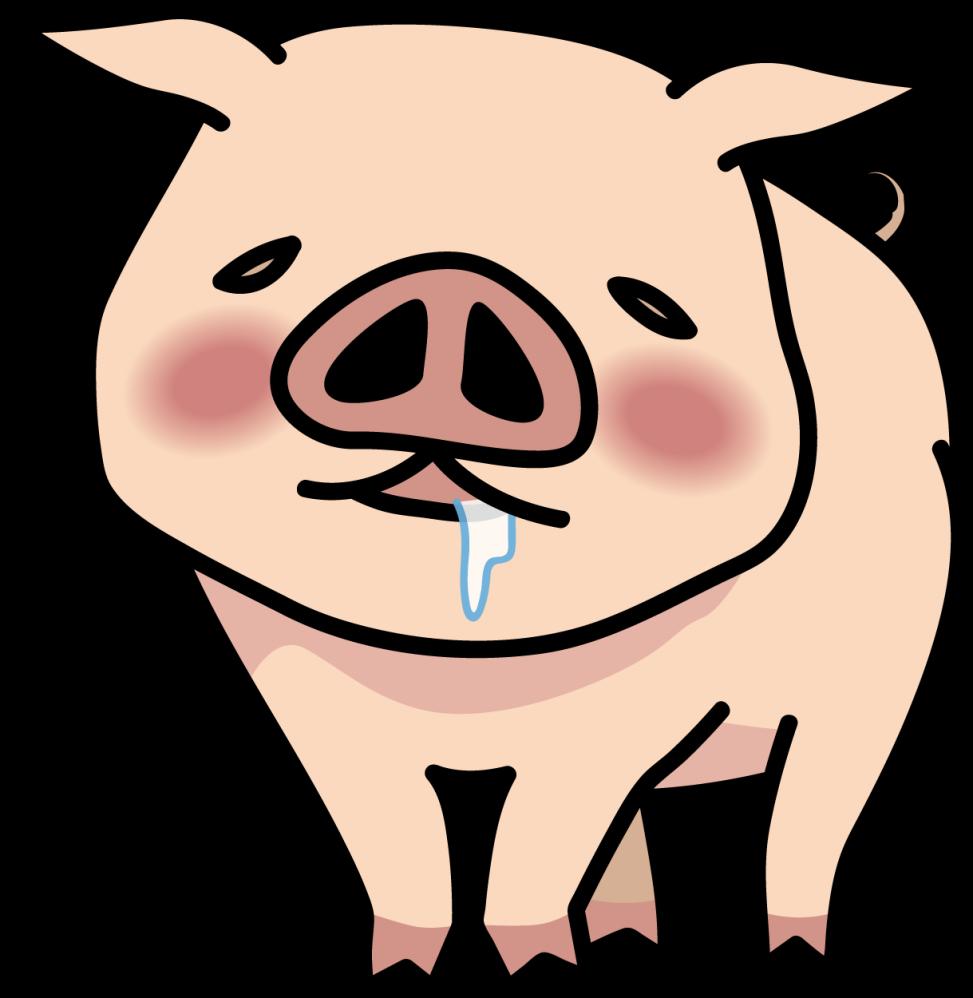 恍惚とした表情の豚