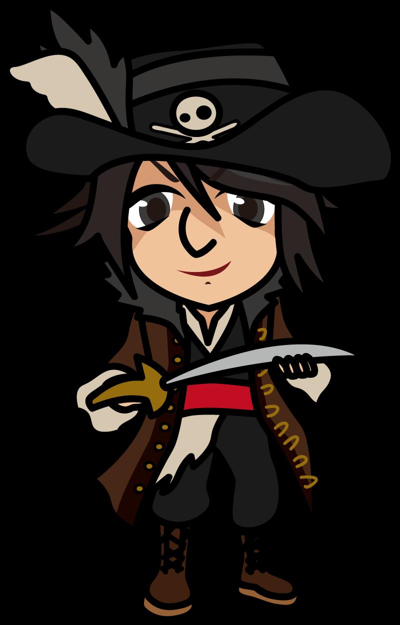 サーベルを持ち不敵な笑みを浮かべる海賊「准さん」
