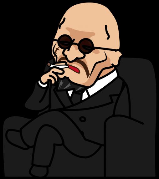 椅子に座ってタバコを吸うヤクザ「社長」
