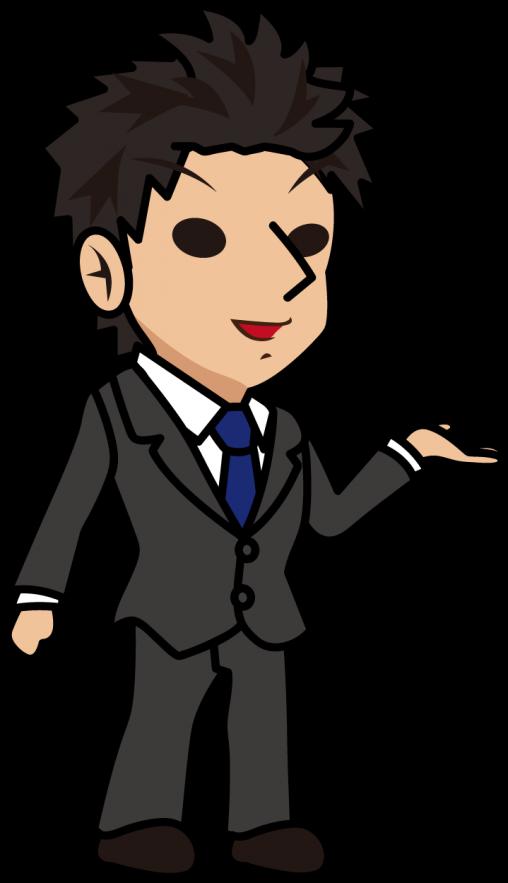 得意気な表情でポジティブな意見を言うビジネスマン「とびぃ」