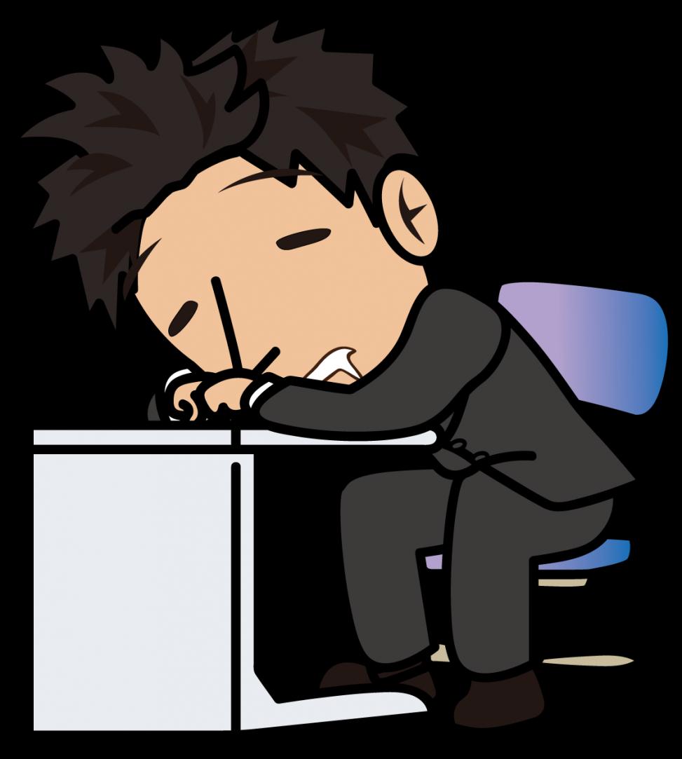 疲れ果ててデスクで眠るビジネスマン「とびぃ」