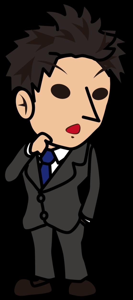 意外そうな表情で振り向くビジネスマン「とびぃ」