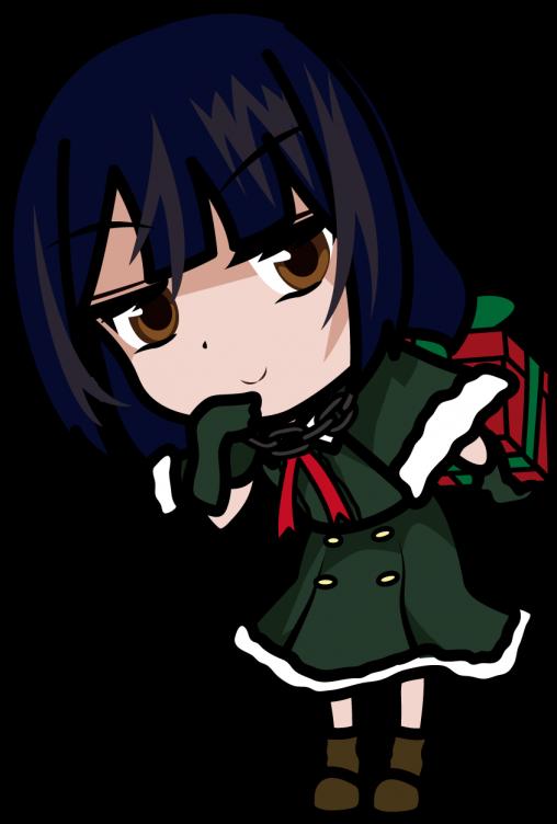 プレゼントを後ろ手に持つクリスマスツリー風ドレス姿の女の子「みーたむ」