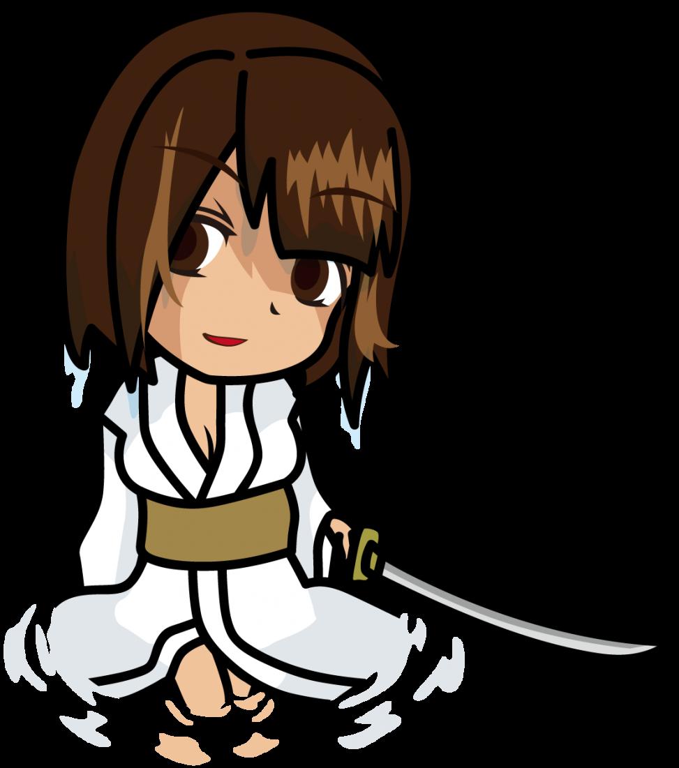水面で日本刀をもって脱力した白装束の濡れた女性「むこりん」