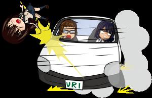 営業車を乗り回すビジネスマンと乗り物酔いしている女子社員と跳ね飛ばされた女子高生「うりぼぅ×みーたむ×あーたむ」