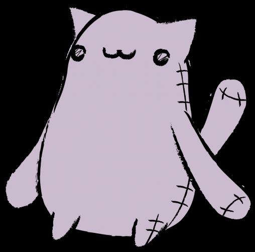 足の短い猫のぬいぐるみ
