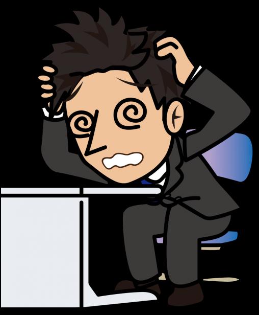 デスクで目を回しながら悩むビジネスマン「とびぃ」