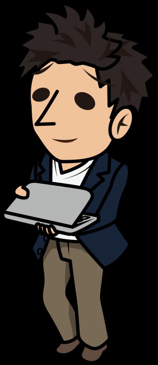 ノートパソコンを持って歩く困り顔のビジネスマン「とびぃ」