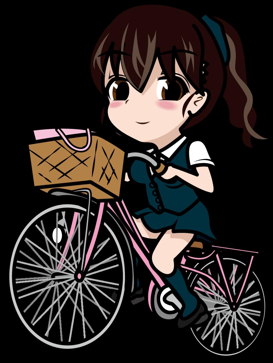 自転車に乗るポニーテールの新人OL「あーたむ」