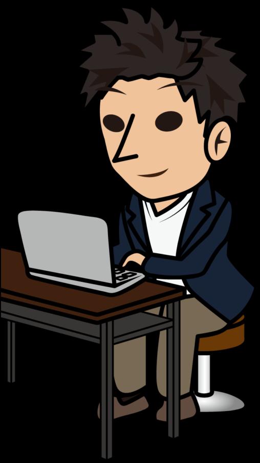 ノートパソコンで入力するノマド系ビジネスマン「とびぃ」