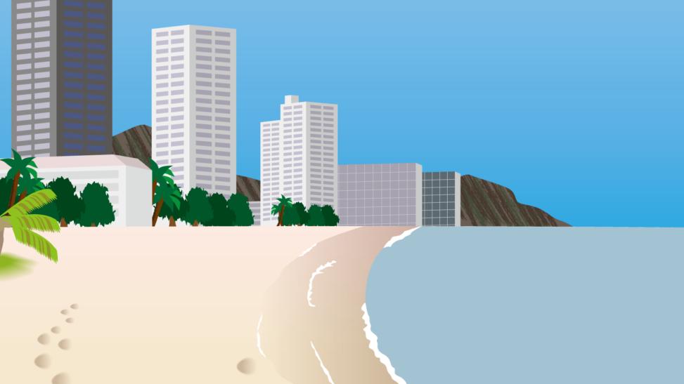 遠くにビルの見えるビーチの背景