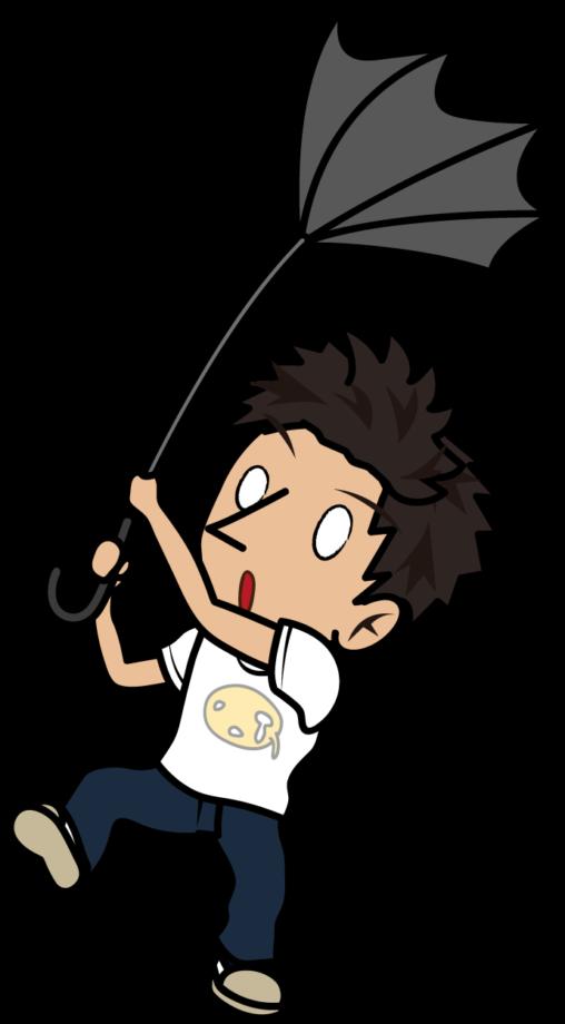 風で裏返った傘をつかむTシャツの若者「とびぃ」