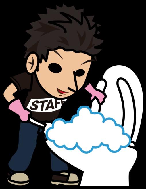 トイレ掃除する黒いスタッフTシャツの男性「とびぃ」