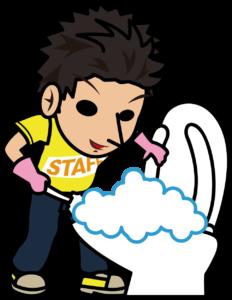 トイレ掃除する黄色いスタッフTシャツの男性「とびぃ」