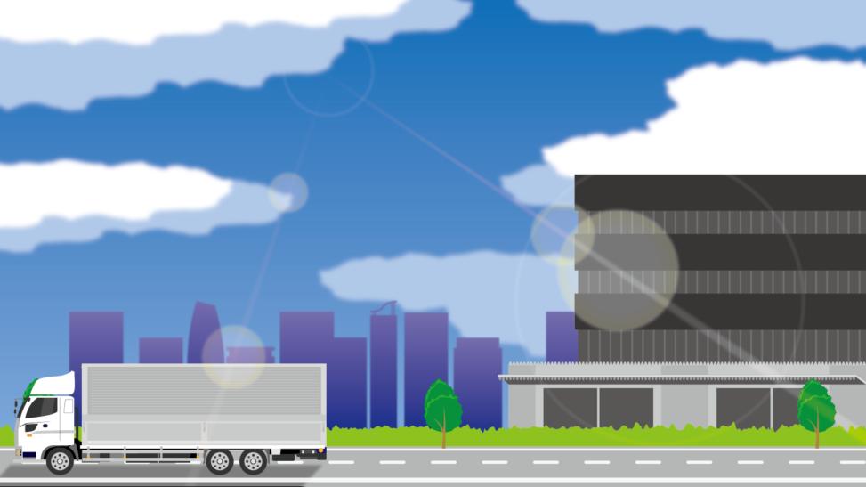 トラックが走るパノラマ背景