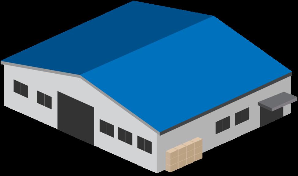 青い屋根の倉庫