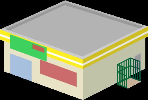 緑の看板のコンビニエンスストア