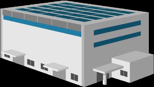ソーラーパネルのある白い倉庫
