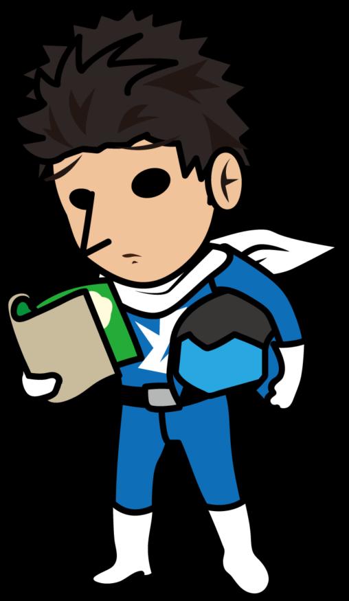 ブルーな顔で求人広告を見る青い戦隊ヒーロー「とびぃ」