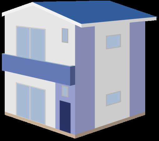 青い屋根の2階建て民家