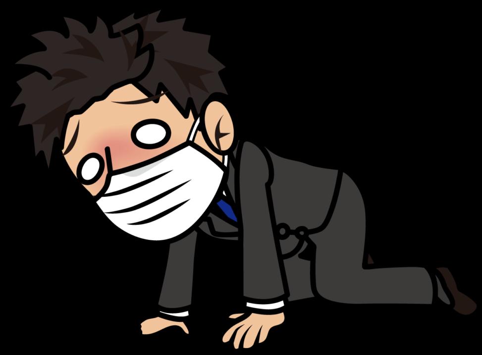 熱で倒れそうなマスクをしたビジネスマン「とびぃ」