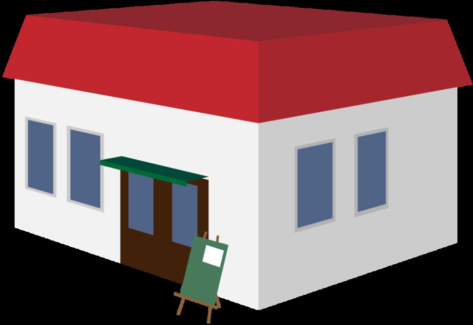 赤い屋根のカフェ