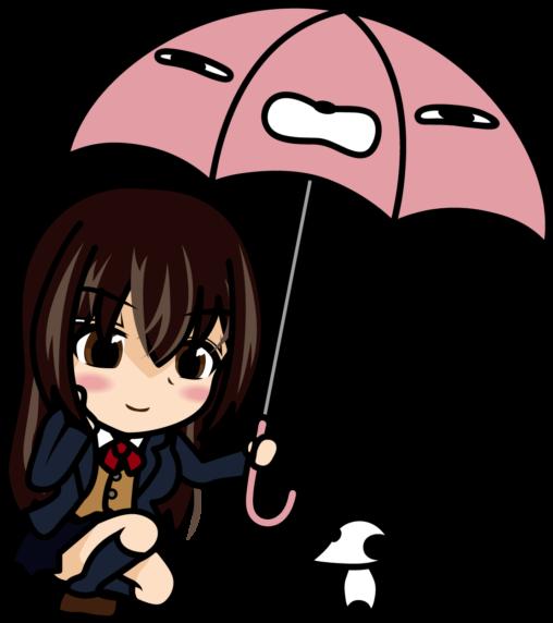 雨に濡れる動物に傘を差し出す女子高生「あーたむ」
