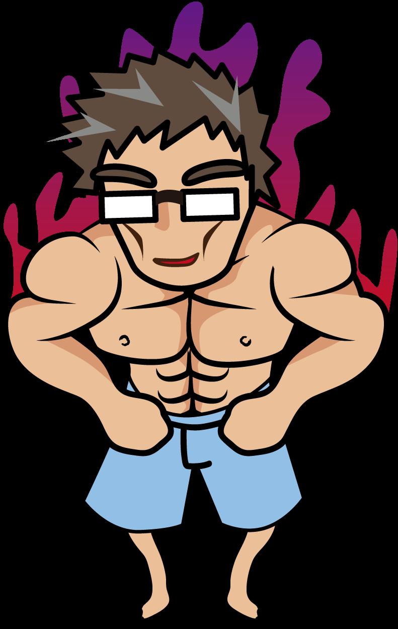 闘志を燃やす上半身だけムキムキのおじさん「妖精さん」