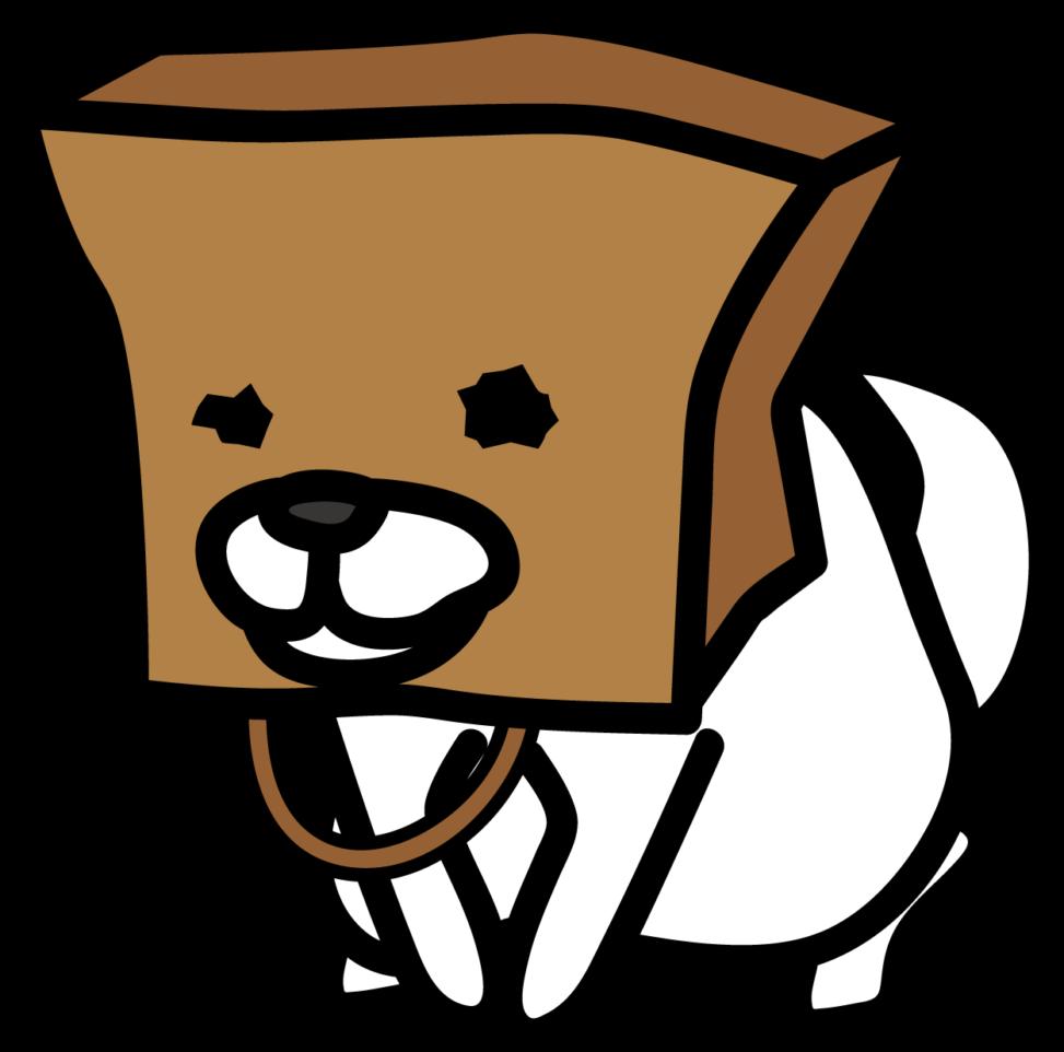 クラフトバッグを被った白い犬