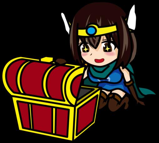 嬉しそうに宝箱を開ける女勇者「あーたむ」