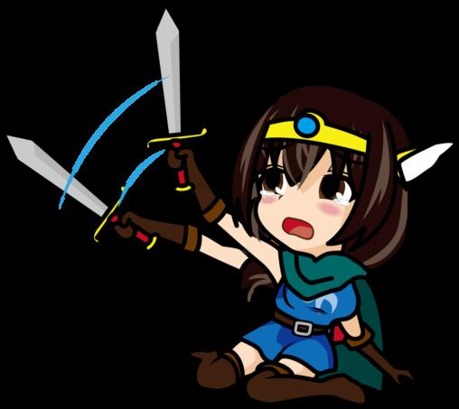 へたり込みながら剣を振り回す女勇者「あーたむ」