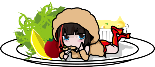皿の上にねっころがってエビフライを食べるエビフライ娘「座敷あらしYDV」