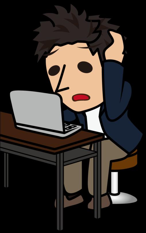 困った顔で頭を抱えながらノートパソコンを使う男性「とびぃ」