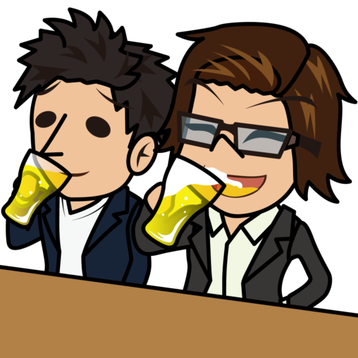 同僚とビールを飲むビジネスマン2人「とびぃ×うりぼぅ」