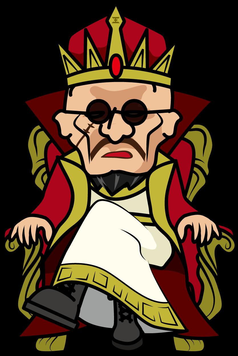 玉座に足を組んで座る怖い顔の王様「社長」