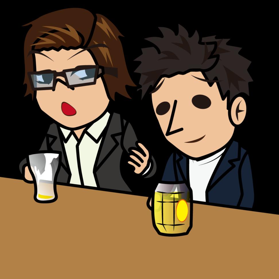 ビールを飲み干して語る男性とハイボールを飲みながら聞く男性「うりぼぅ×とびぃ」