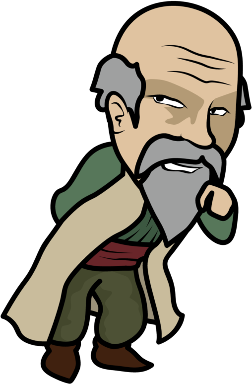 悪そうにほくそ笑むRPGの村長