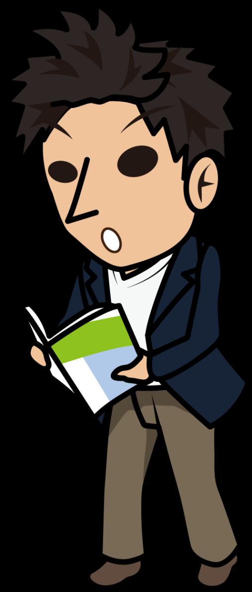 本を立ち読みして驚くビジネスマン「とびぃ」