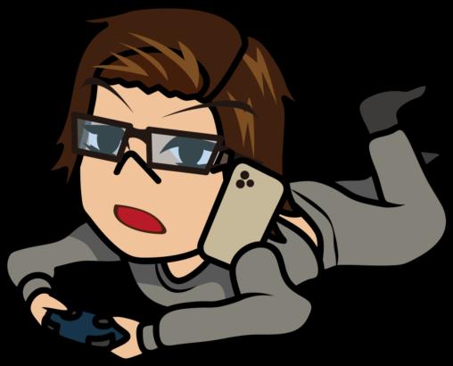 寝っ転がってゲームしながら電話するスウェットの男「うりぼぅ」
