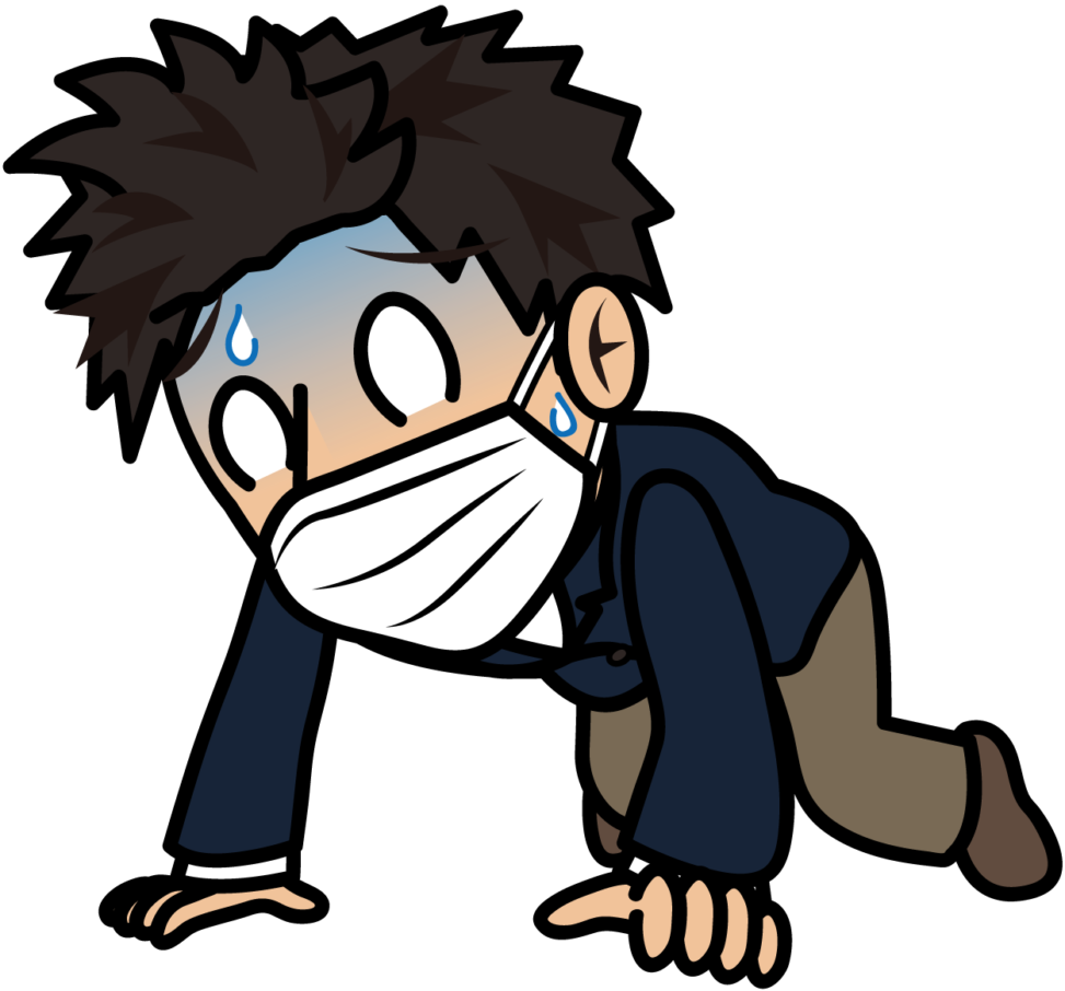 体調を崩して膝をつくマスクをしたビジネスマン「とびぃ」